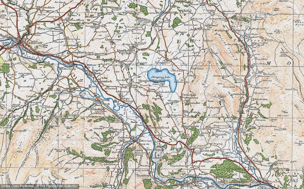 Old Map of Historic Map covering Allt y Esgair in 1919