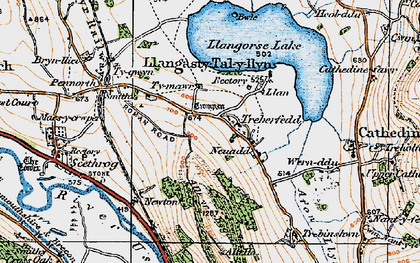 Old map of Allt y Esgair in 1919