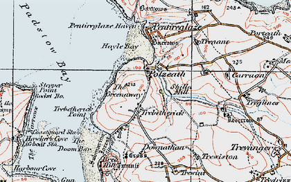 Old map of Trebetherick in 1919
