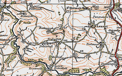Old map of Trebullett in 1919