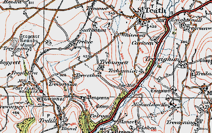 Old map of Treburgett in 1919
