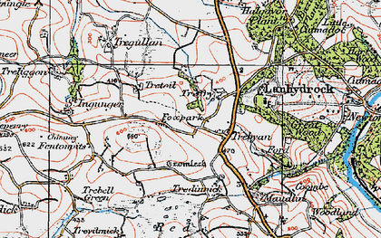 Old map of Trebyan in 1919