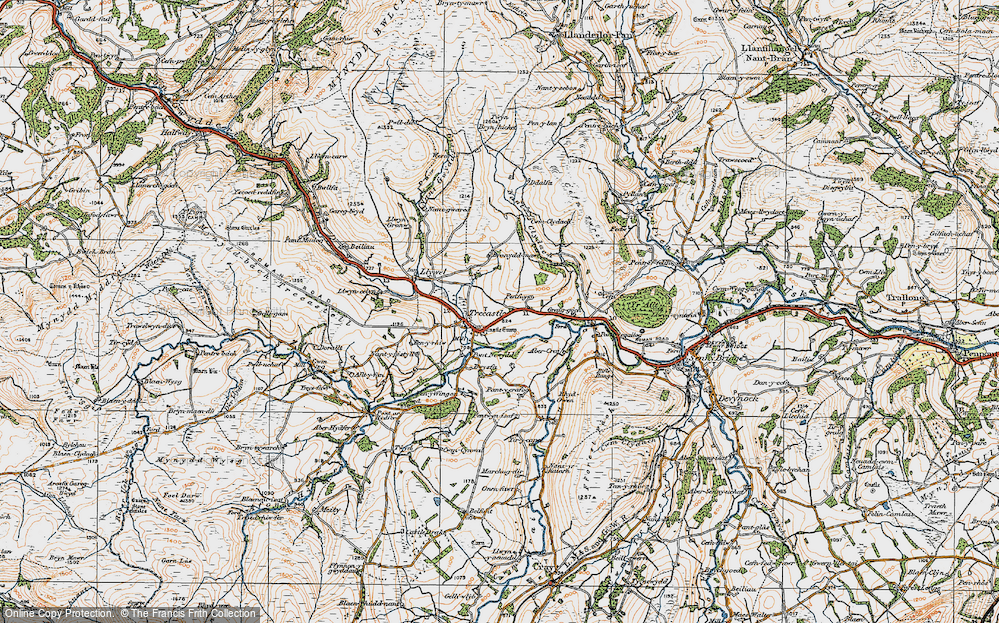 Old Map of Historic Map covering Abercrai in 1923