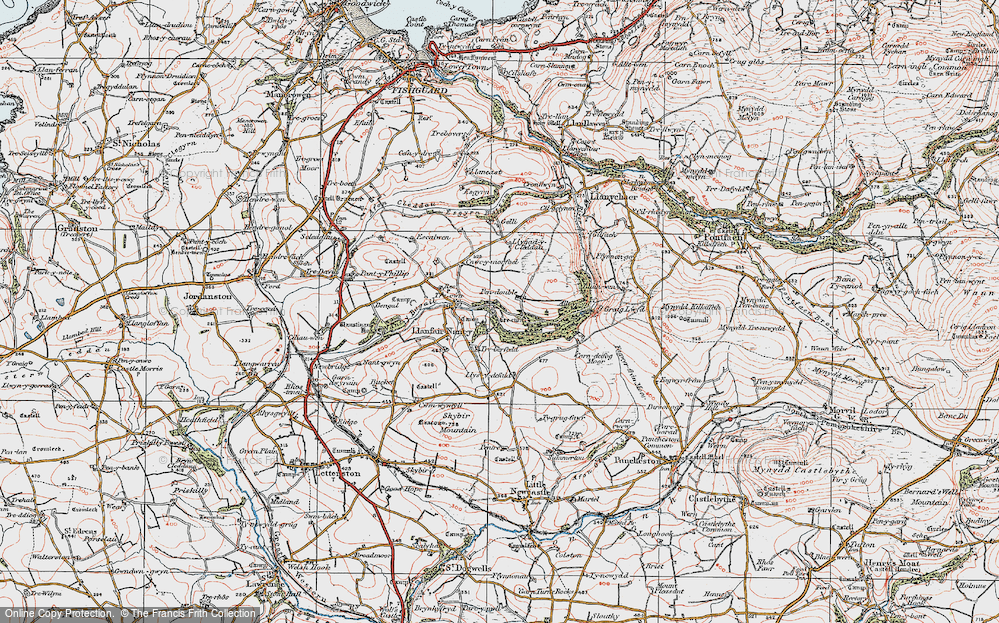 Old Map of Historic Map covering Allt yr Yn in 1922