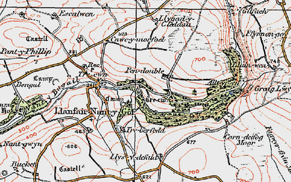 Old map of Allt yr Yn in 1922