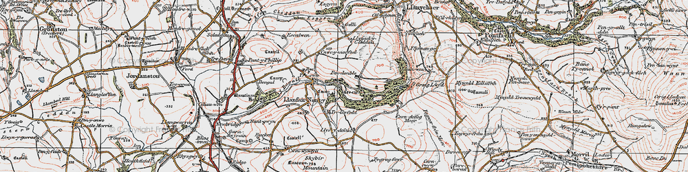 Old map of Ysgubor Mountain in 1922