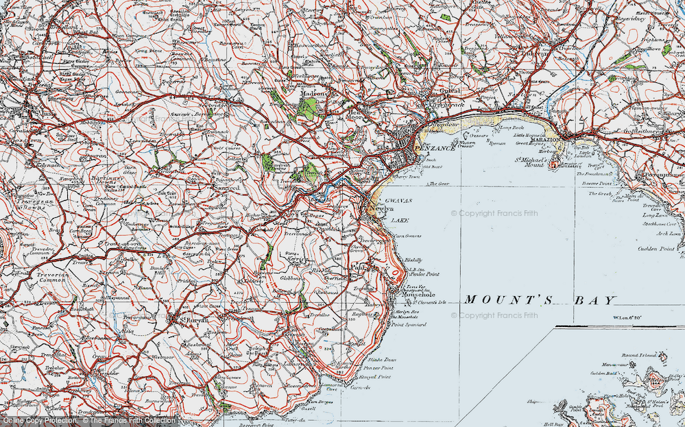 Old Map of Historic Map covering Tolcarne in 1919