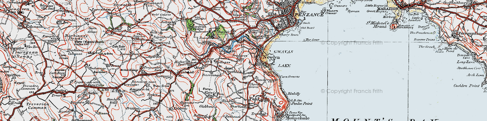 Old map of Tolcarne in 1919