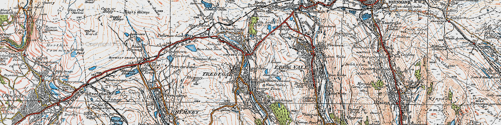 Old map of Tredegar in 1919