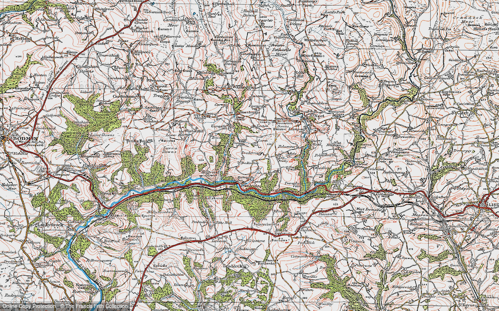Old Map of Historic Map covering Ley in 1919