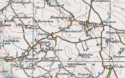 Old map of Tredrizzick in 1919