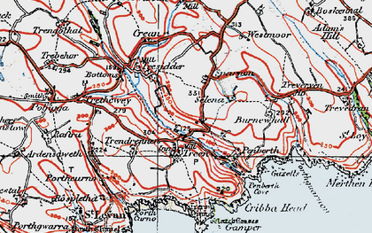 Old map of Logan Rock in 1919