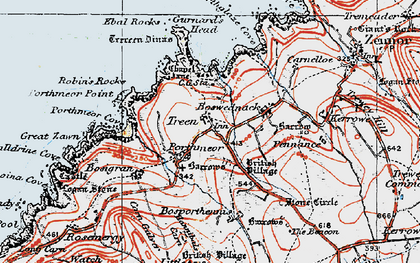 Old map of Treen in 1919