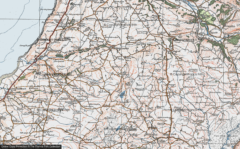 Old Map of Historic Map covering Bancllyn in 1922