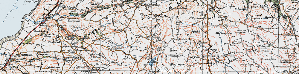 Old map of Afon Tryal in 1922