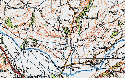 Old map of Afon Aeron in 1923