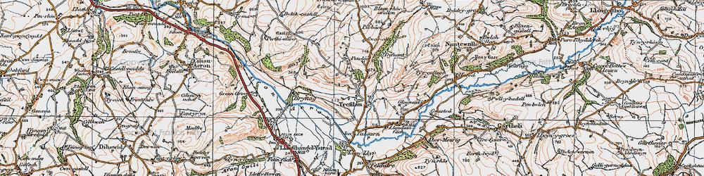Old map of Afon Aeron in 1923