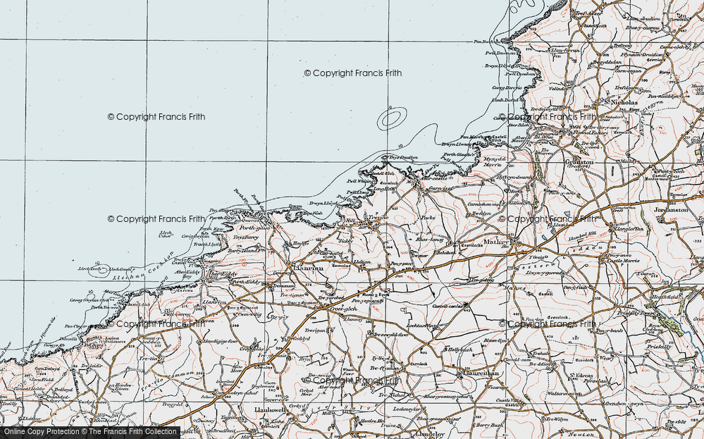 Old Map of Historic Map covering Aber Draw in 1922