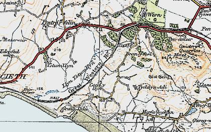 Old map of Treflys in 1922