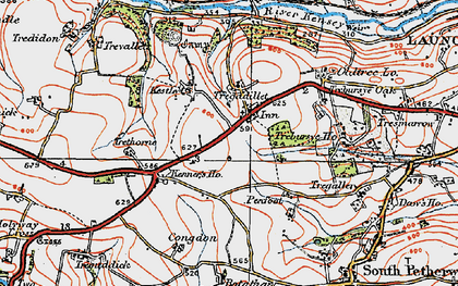 Old map of Tregadillett in 1919