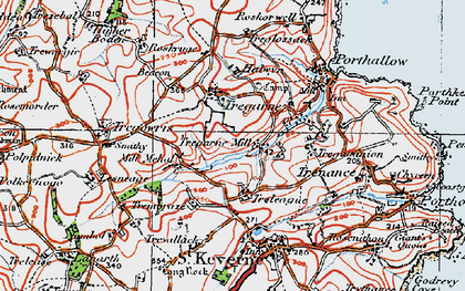 Old map of Lesneague in 1919