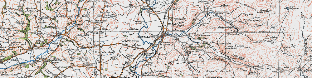 Old map of Afon Groes in 1923