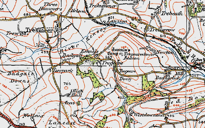 Old map of Lanzion in 1919