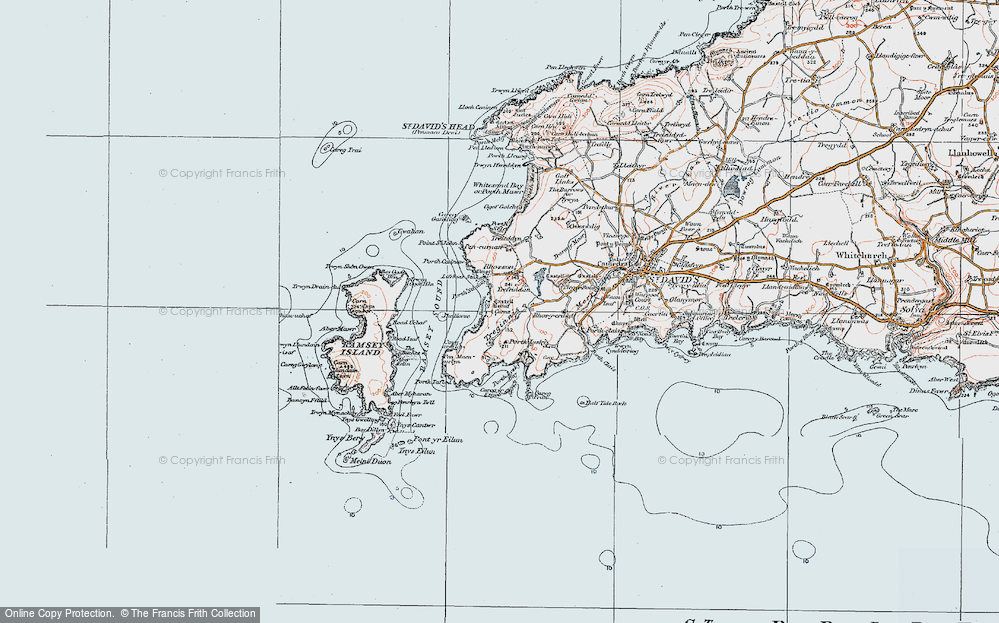 Old Map of Historic Map covering Aber Mawr in 1922