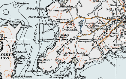 Old map of Ramsey Island in 1922