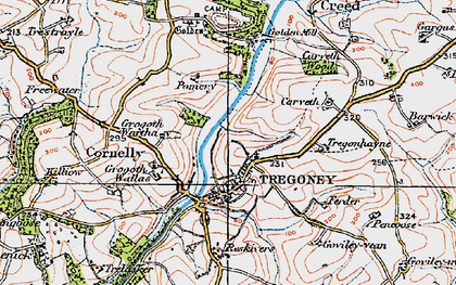 Old map of Tregony in 1919