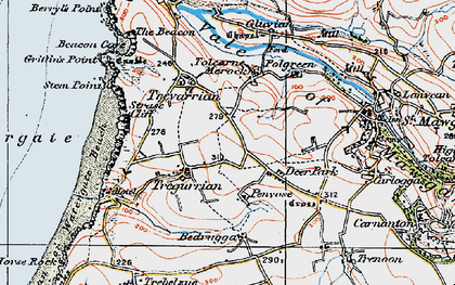 Old map of Tregurrian in 1919