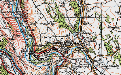 Old map of Treharris in 1919