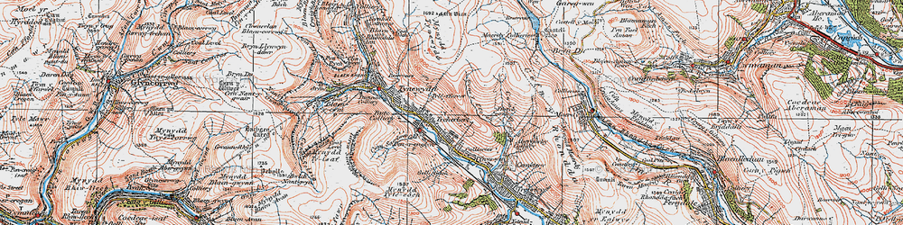 Old map of Y Garn Bica in 1923