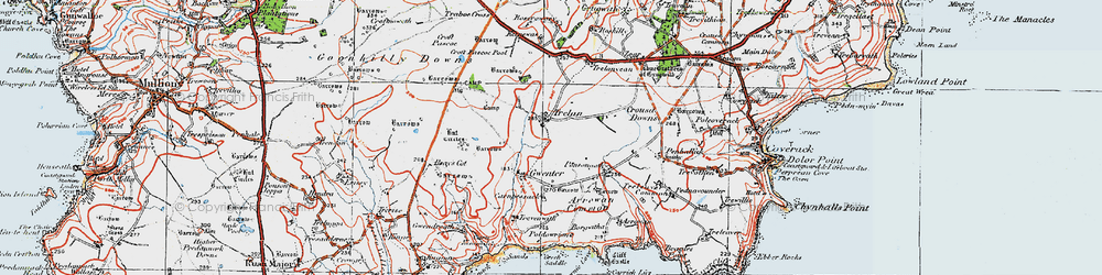 Old map of Goonhilly Downs in 1919