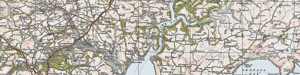 Old map of Tolverne in 1919