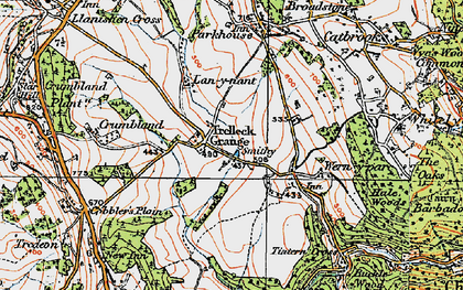 Old map of Trelleck Grange in 1919