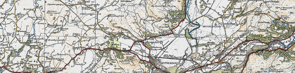 Old map of Tremadog in 1922
