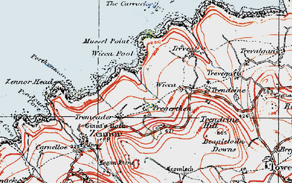 Old map of Zennor Quoit in 1919