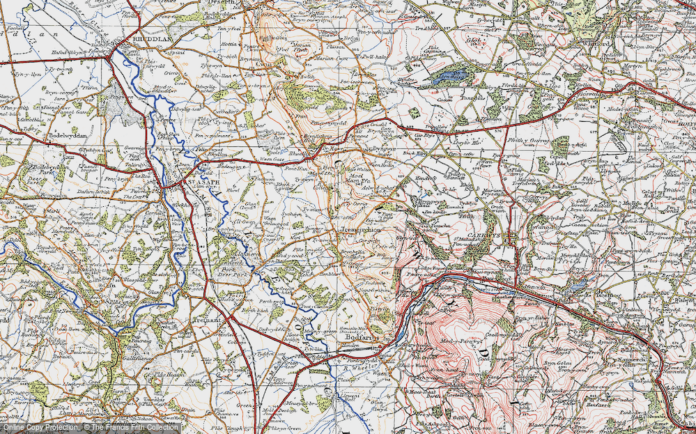 Old Map of Historic Map covering Aelwyd-uchaf in 1922