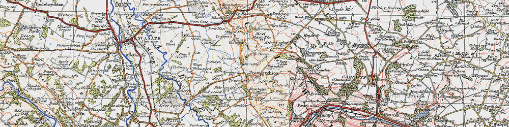 Old map of Aelwyd-uchaf in 1922