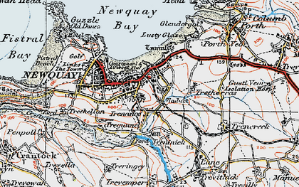 Old map of Trenance in 1919