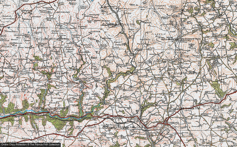 Old Map of Historic Map covering Whitebarrow Downs in 1919