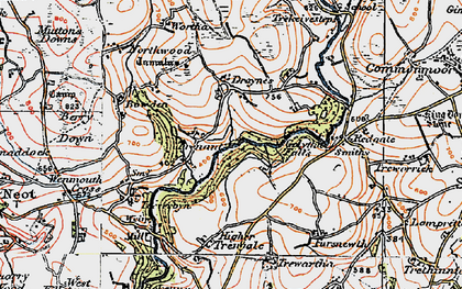 Old map of Whitebarrow Downs in 1919