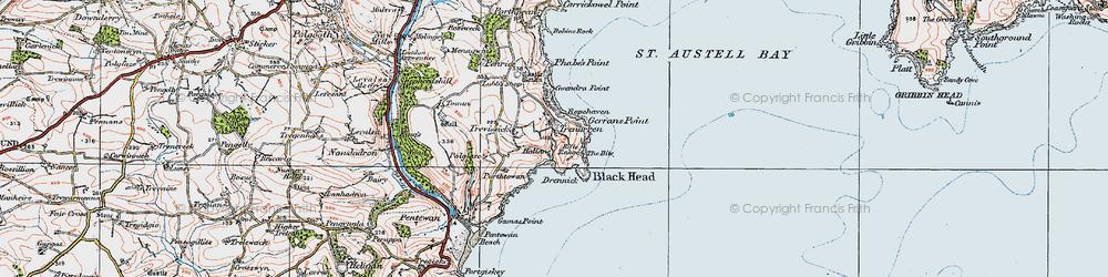 Old map of Trenarren in 1919
