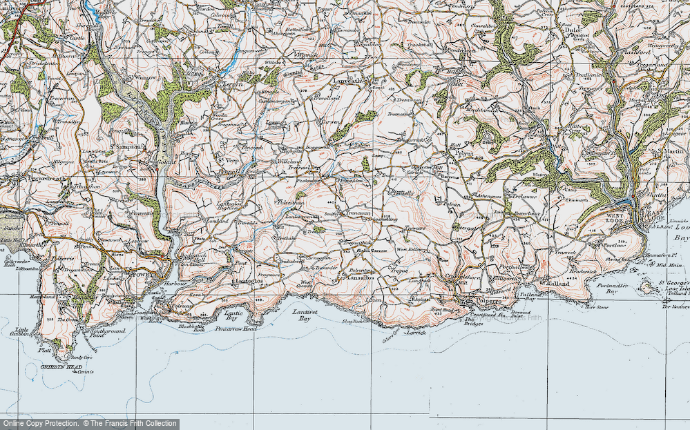 Old Map of Historic Map covering Bake Rings in 1919