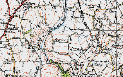 Old map of Trerice Manor in 1919