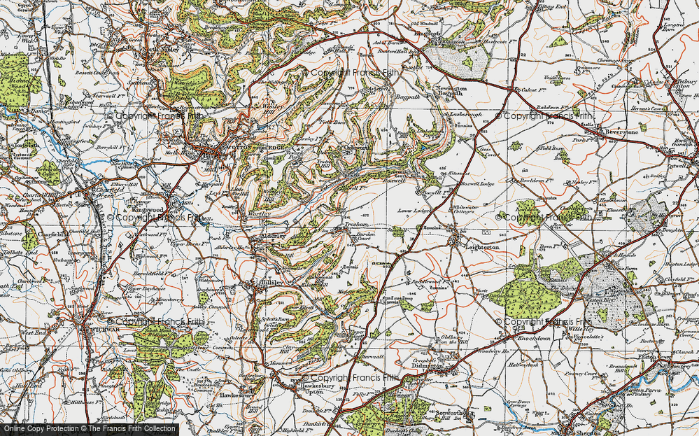 Old Map of Historic Map covering Yewtree Hill in 1919