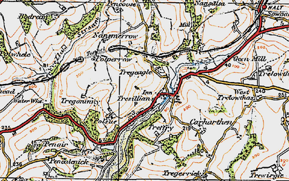 Old map of Tresillian in 1919