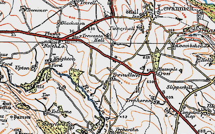 Old map of Tolcarne Tor in 1919