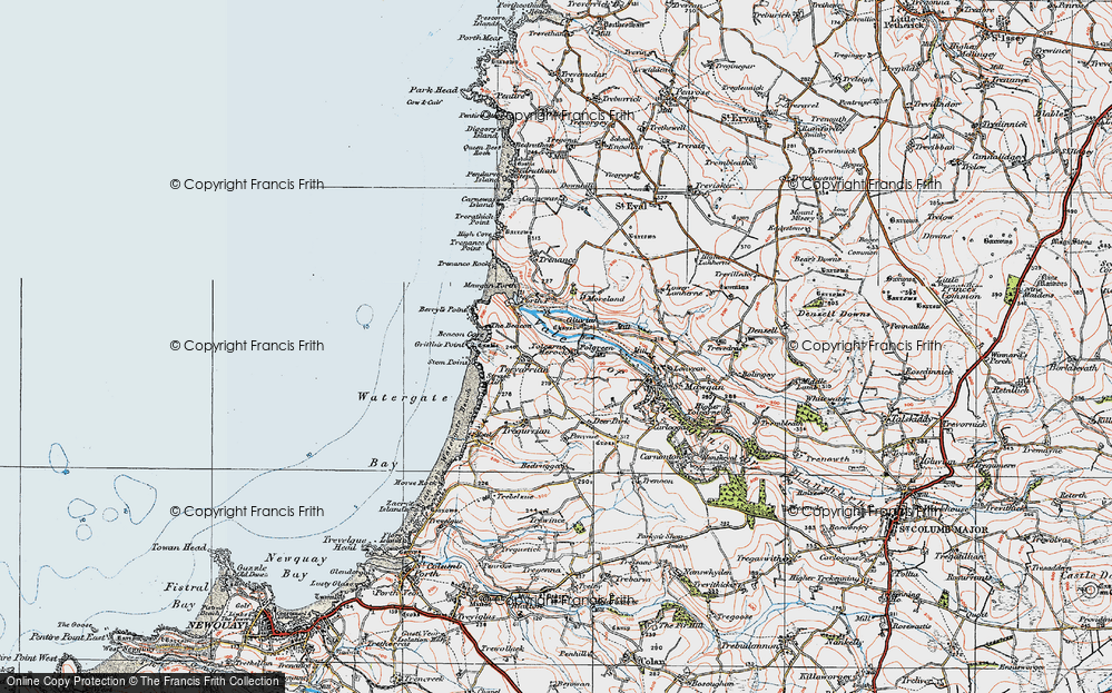 Old Map of Historic Map covering Tolcarne Merock in 1919